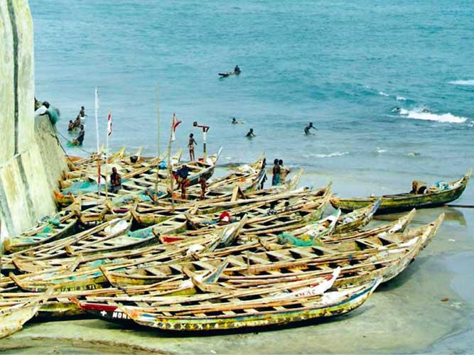 African Fishing Boat Fishing Boats at Cape Coast