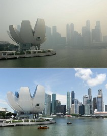 Singapore covered in haze (20 June 2013), compared to a clear day (13 April 2012). © AFP